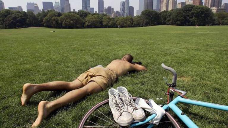 homem deitado na grama, descansando
