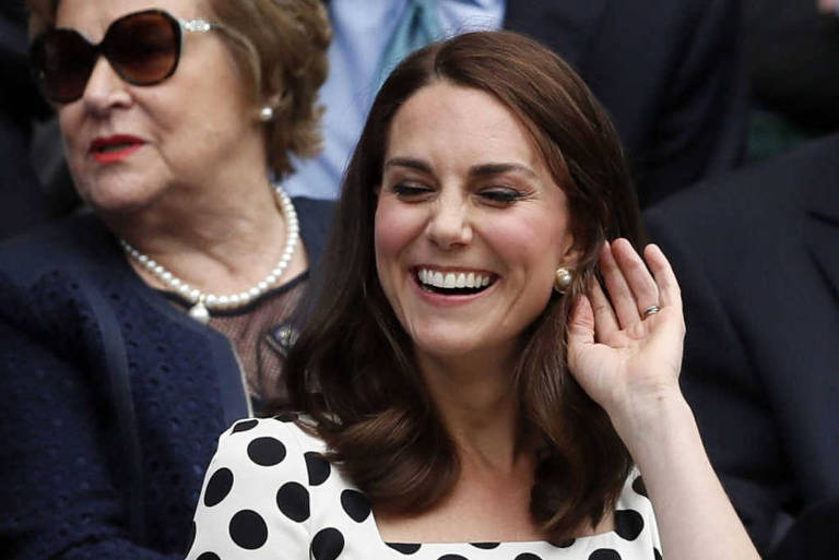 A duquesa de Cambridge, Kate Middleton, no campeonato de Tênis de Wimbledon, em Londres, 2017