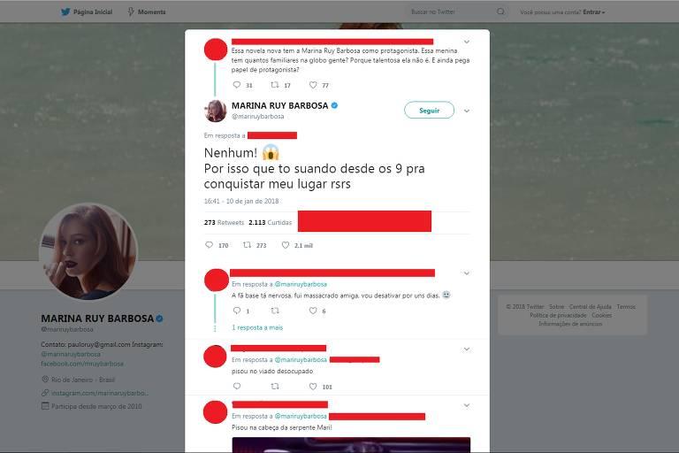 Marina Ruy Barbosa responde internauta que a criticou por papel em novela
