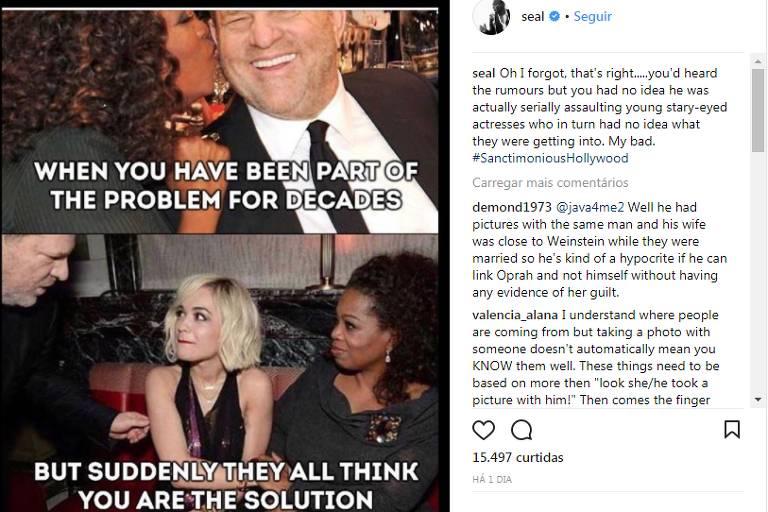 Postagem do cantor Seal em uma rede social