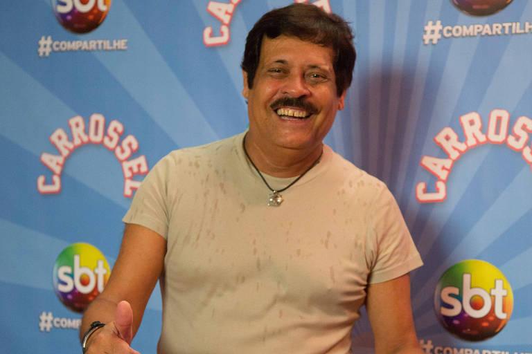 O humorista Carlinhos Aguiar durante a gravação das últimas cenas da novela Carrossel no Circo Tihany; no antigo Playcenter; na zona oeste da capital paulista.