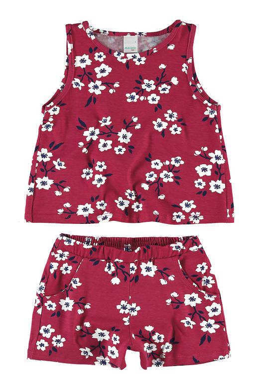 Conjunto infantil de short e blusa regata, em tecido de algodão com estampa floral. De R$ 89,90 por R$ 45,90, da Malwee Kids (até 5/2)