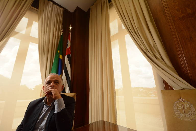 O governador de São Paulo, Márcio França (PSB), no Palácio dos Bandeirantes