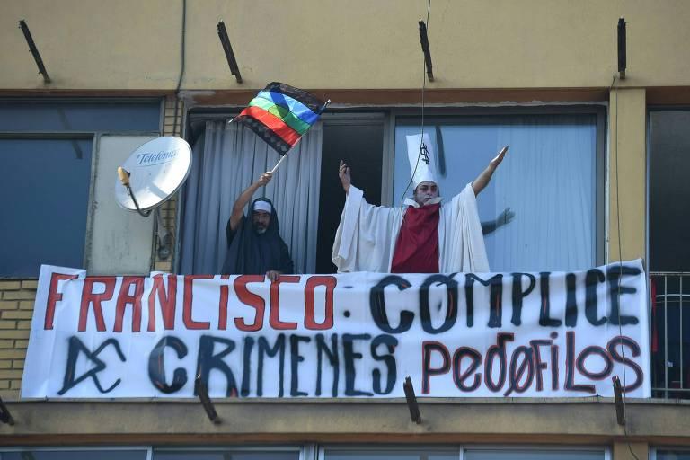 Protestos contra a visita do papa Francisco ao Chile