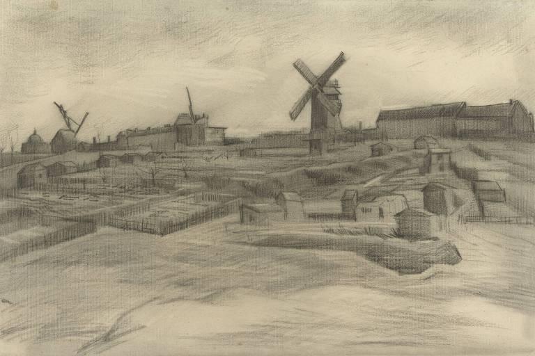 """""""A Colina de Montmartre"""", obra de Van Gogh de 1886"""