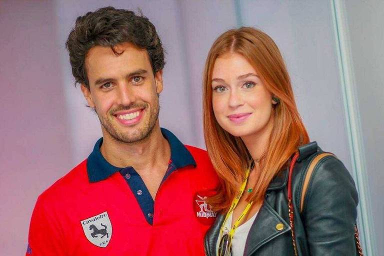 Marina Ruy Barbosa ao lado do noivo, o empresário e piloto Xandinho Negrão, dedurante etapa da Stock Car em Curitiba