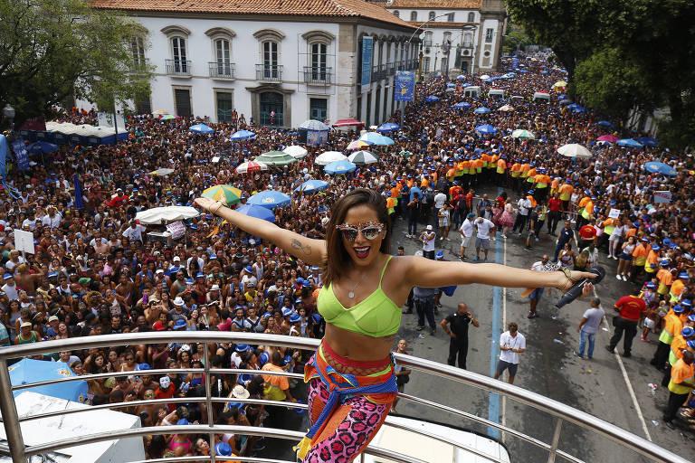 O Bloco das Poderosas, com a cantora Anitta, no Carnaval do Rio no ano passado