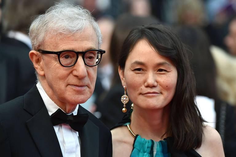 """O Woody Allen e sua mulher Soon-Yi Previn na estreia de """"Cafe Society"""" em Cannes, em 2016"""