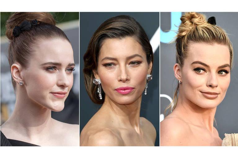 Da esq. para dir., as atrizes Rachel Brosnahan, Jessica Biel e Margot Robbie