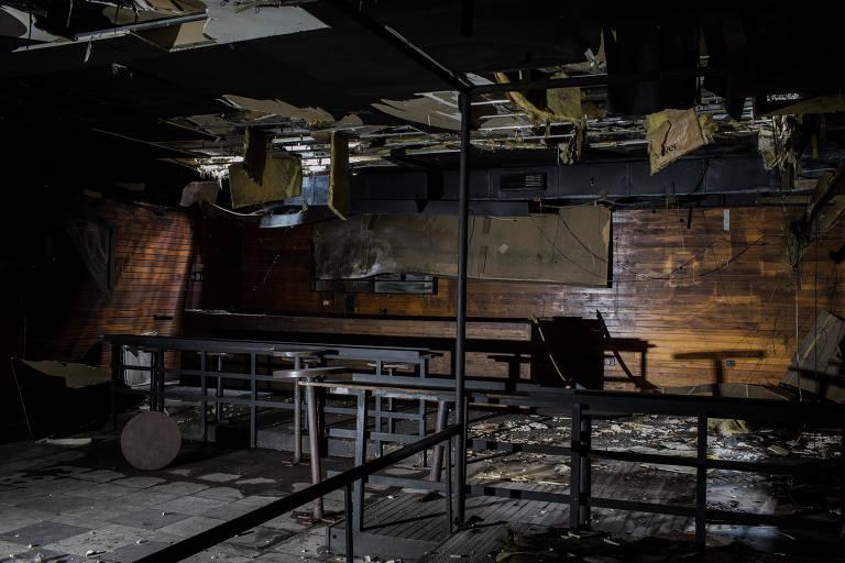 Interior da boate Kiss após a tragédia