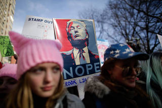 People take part in the Women's March in Manhattan in New York City