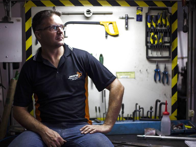 O empresário Pablo Biasin, 40, da JundFer, de Jundiaí (SP), que atende o setor automotivo Danilo Verpa/Folhapress