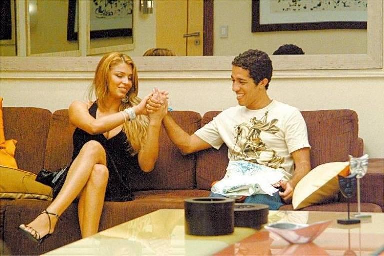 "Grazi Massafera e Jean Wyllys, participantes do ""Big Brother Brasil 5"", da Rede Globo"
