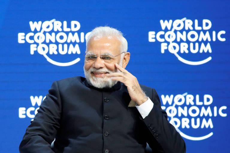 O premiê indiano, Narendra Modi, fala no Fórum Econômico Mundial em Davos – Denis Balibouse/Reuters