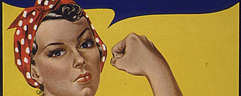 Cartaz 'We Can Do It', da Segunda Guerra Mundial, com a personagem Rosie the Riveter – AFP
