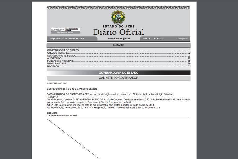 "Gleici, participante do ""BBB18"", é exonerada de cargo público no Acre"