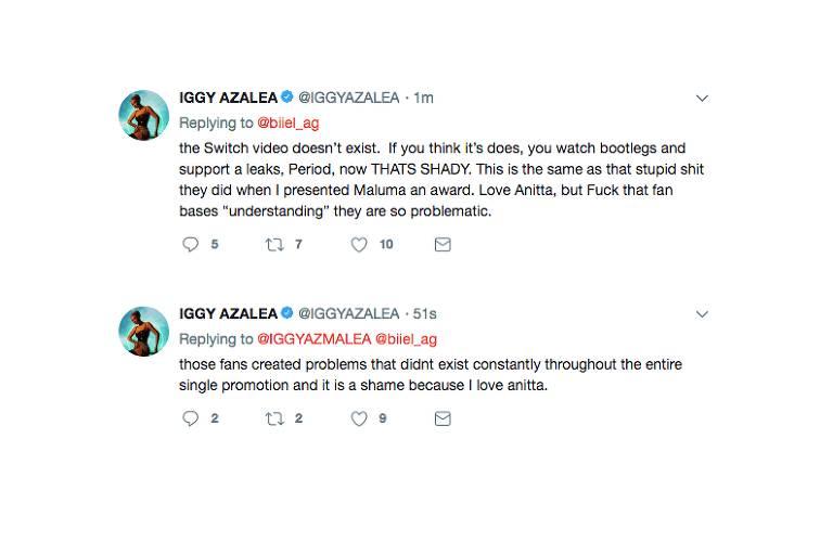 Iggy Azalea criticou os fãs da cantora Anitta em seu Twitter