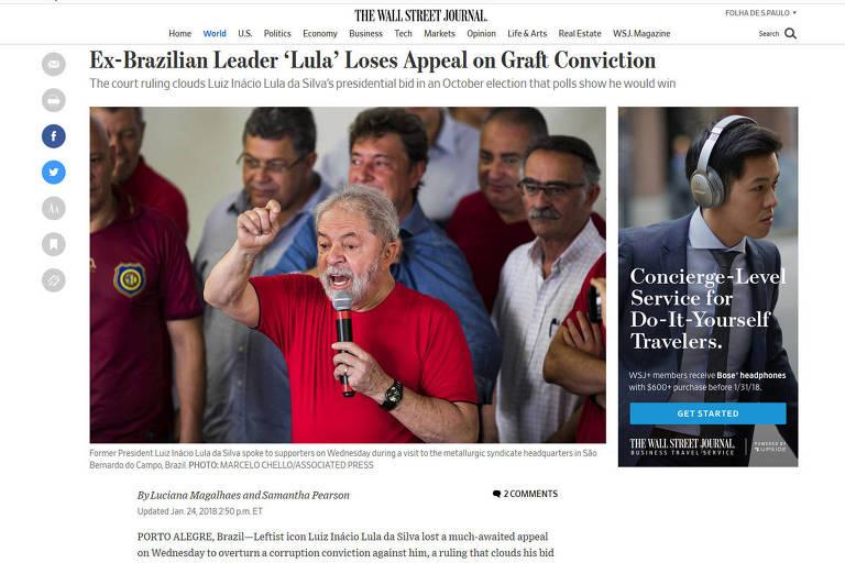 Condenação de Lula em 2ª instância tem repercussão mundial