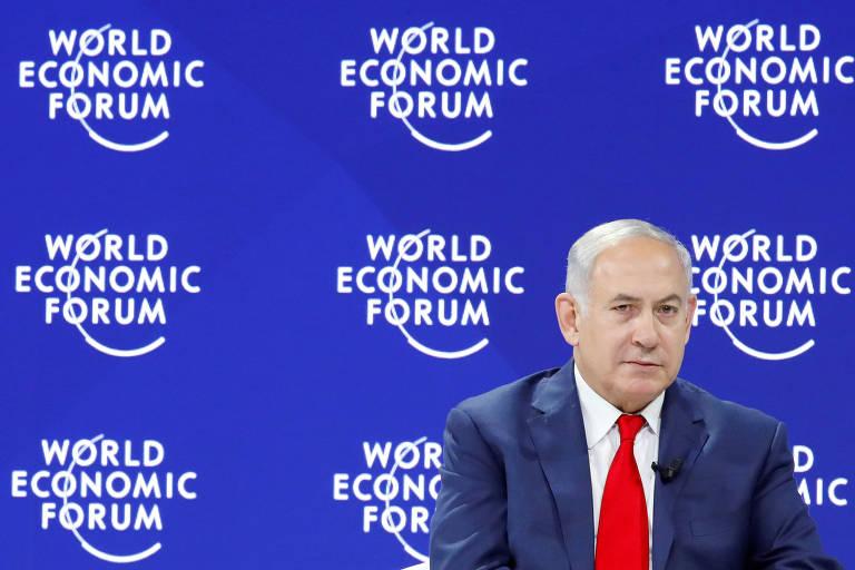 O premiê de Israel, Binyamin Netanyahu, em evento no Fórum Econômico Mundial em Davos, na Suíça