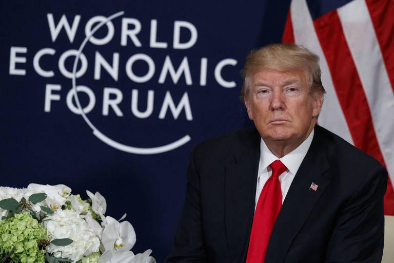 Donald Trump durante encontro com o presidente de Ruanda Paul Kagame em Davos