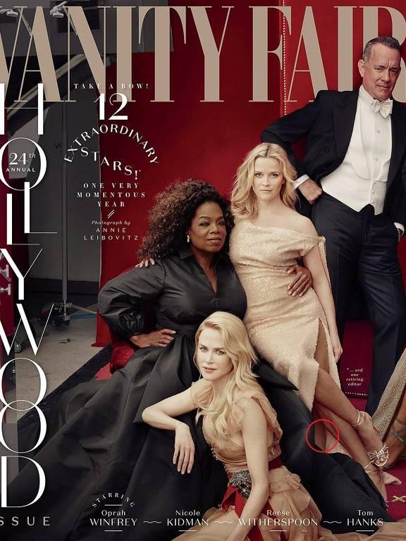 """A atriz Reese Witherspoon aparece com três pernas na foto de capa divulgada pela revista americana """"Vanity Fair"""""""