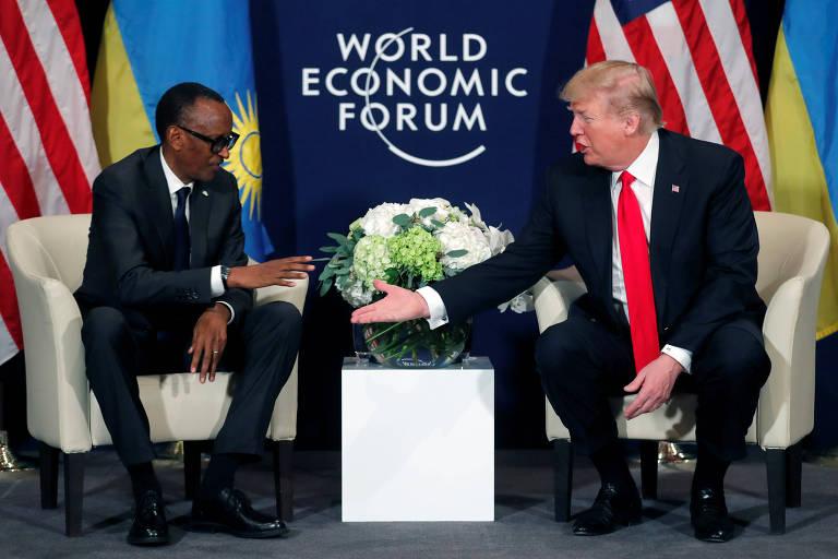 Paul Kagame, presidente de Ruanda, e Donald Trump durante encontro em Davos