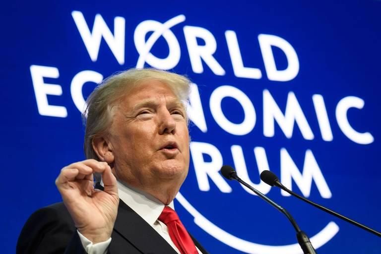 O presidente dos EUA, Donald Trump, faz seu discurso no Fórum Econômico Mundial, em Davos