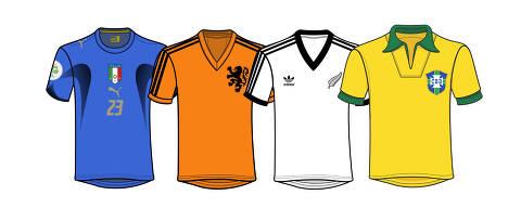 Imagem para chamada em página e reportagem para o especial 'Camisas Históricas' da Copa do Mundo