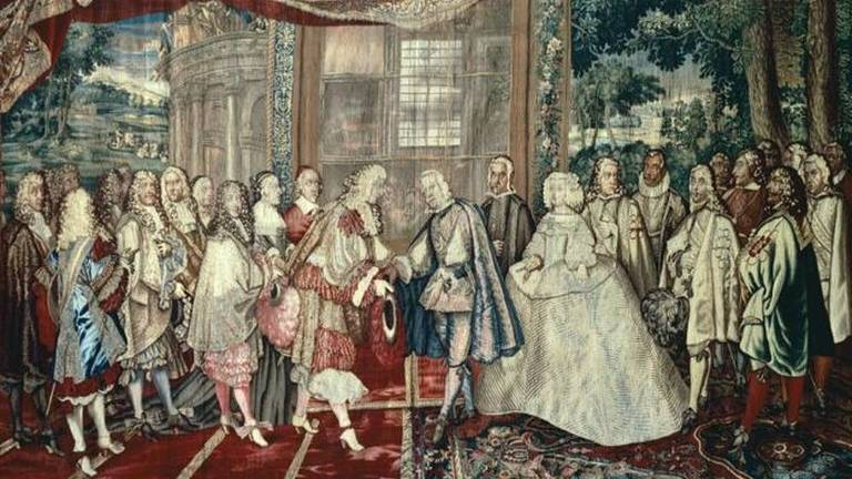 Luis 14, da França, e Philip 4, da Espanha, se encontram na Ilha dos Faisões em 1660