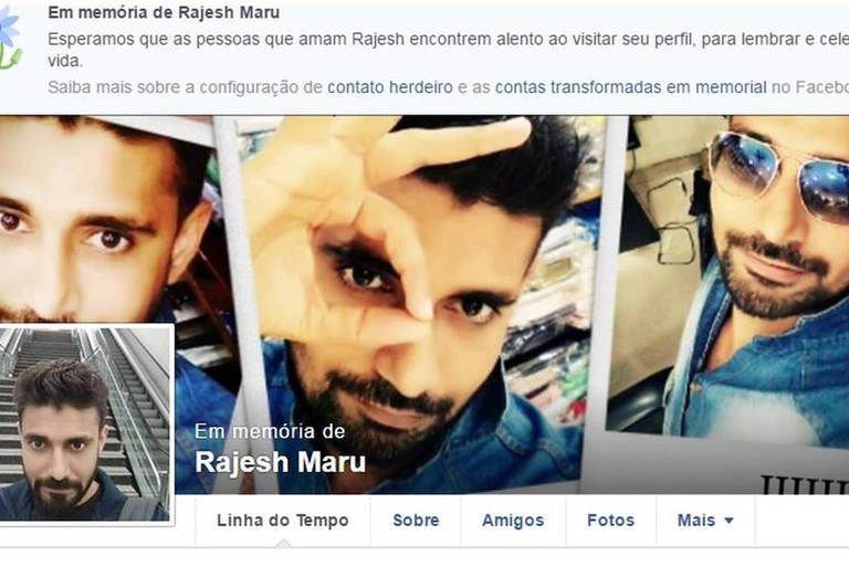 Perfil no Facebook em memória de Rajesh Maru: Homem de 32 anos chegou a ser socorrido, mas morreu minutos após o incidente