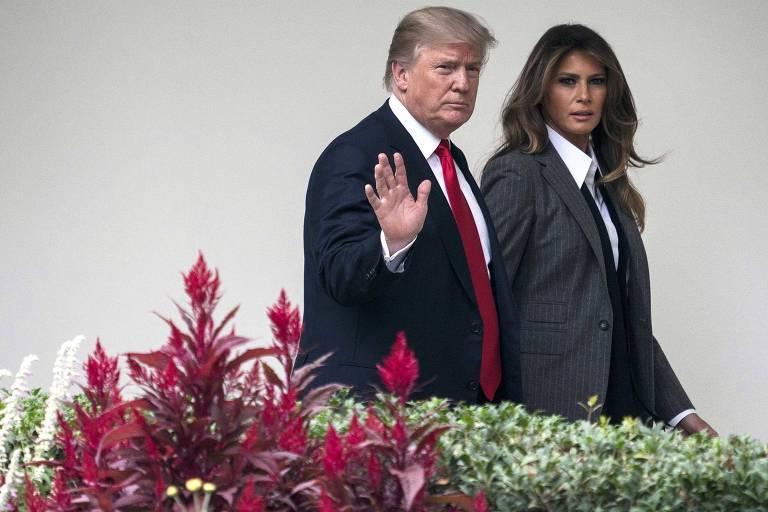 Donald Trump e Melania Trump na Casa Branca em outubro do ano passado