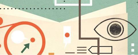 ilustração de Daniel Bueno para as páginas do projeto editorial da Folha