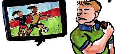 cartum de aline lemos sobre futebol