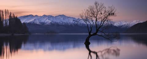 Lago Wanaka, próximo ao monte Aspiring, na ilha sul da Nova Zelândia