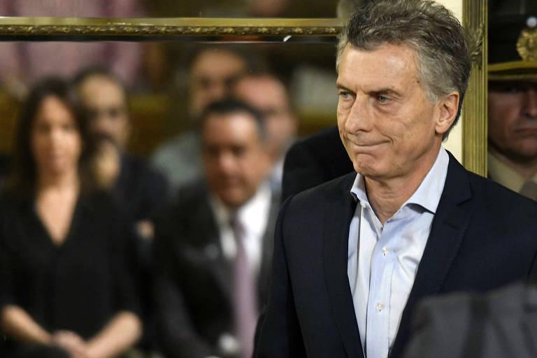 O presidente da Argentina, Mauricio Macri, anuncia os cortes no funcionalismo público na segunda