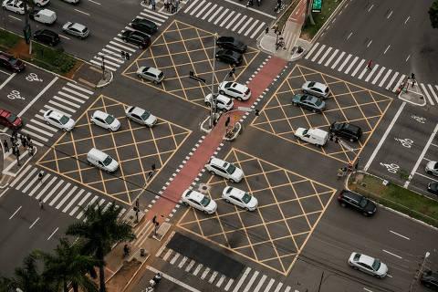 SAO PAULO - SP - 22.01.2018 - Especial Folha Mobilidade - Transito na avenida Brigadeiro Faria Lima e trafego de aeronaves na regiao do Itaim Bibi. FOTO: KEINY ANDRADE/FOLHAPRESS