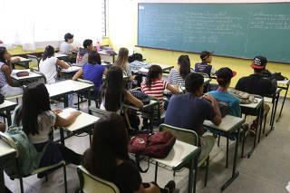 Sala de aula da E.E. Antônio Vieira de Souza em Guarulhos/SP