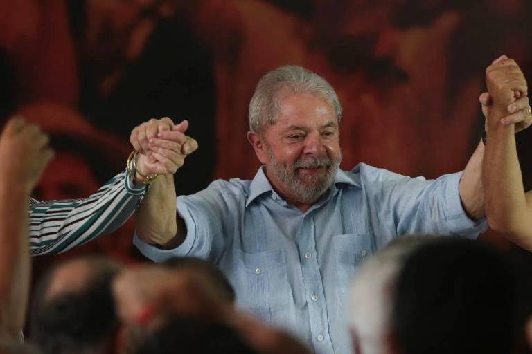 O ex--presidente Lula durante reunião da executiva do PT em São Paulo