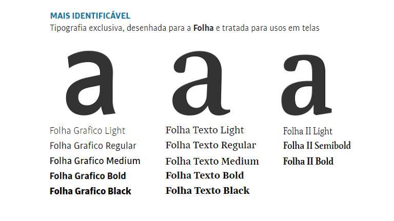 letras As da nova tipografia