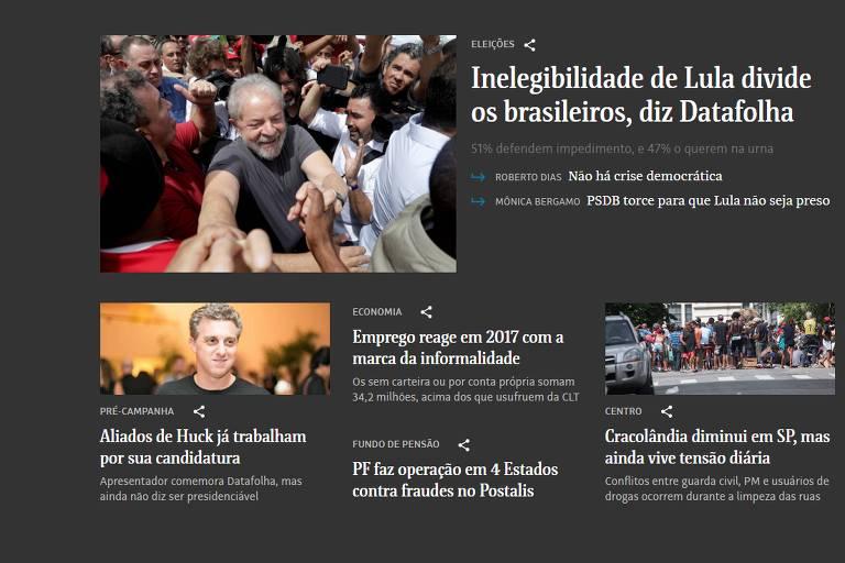 Página da Folha com contraste de cores