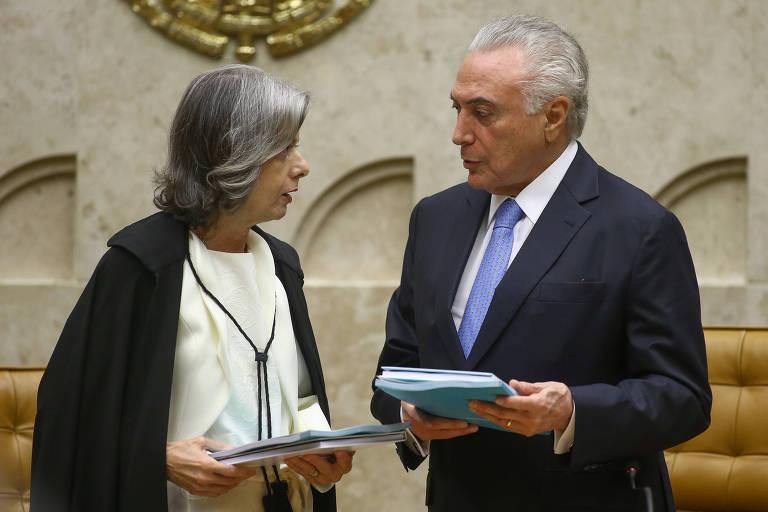 A presidente do STF, ministra Camen Lúcia, e o presidente Michel Temer durante sessão de abertura do ano no STF