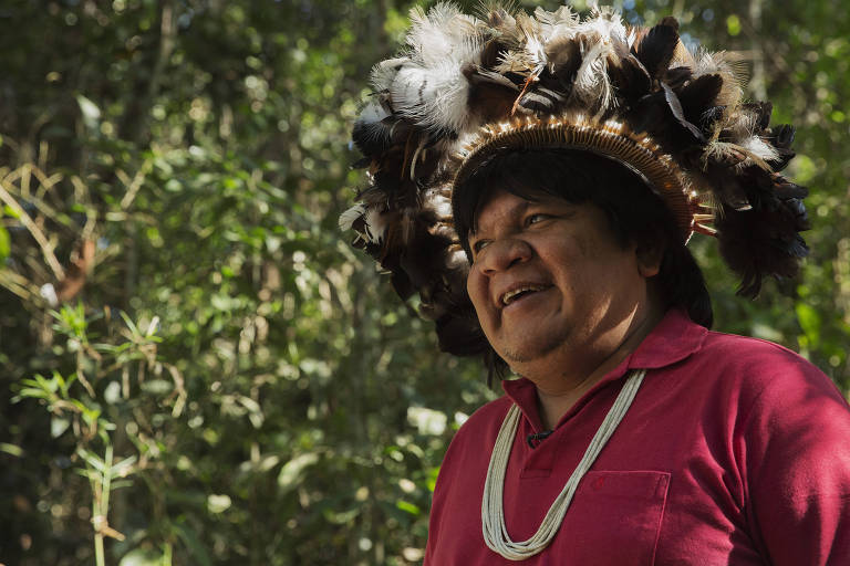 O líder indígena Almir Suruí, em Rondônia