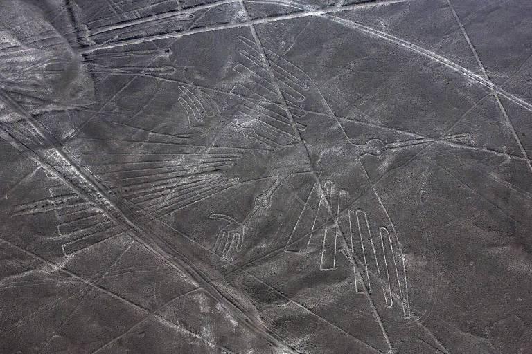 Imagem mostra o condor desenhado nas linhas de Nazca