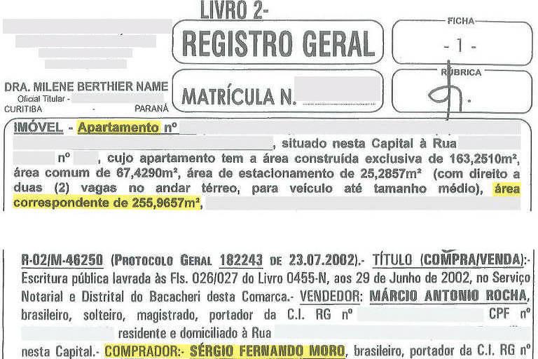 Certidão de apartamento de Sergio Moro