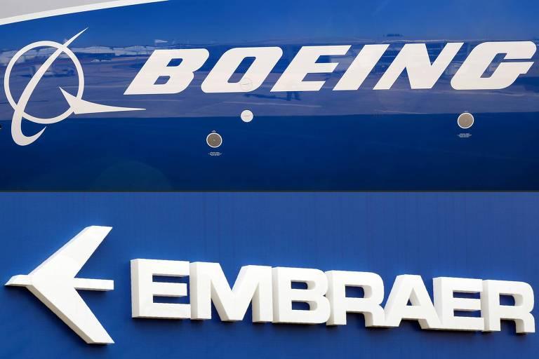 Logotipos da Boeing e da Embraer