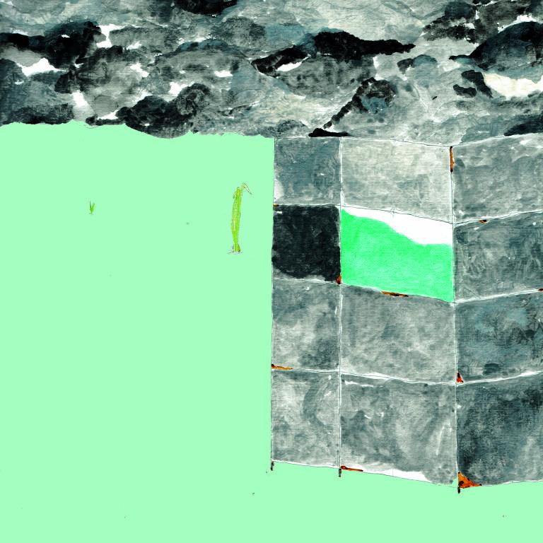 pintura em verde e cinza