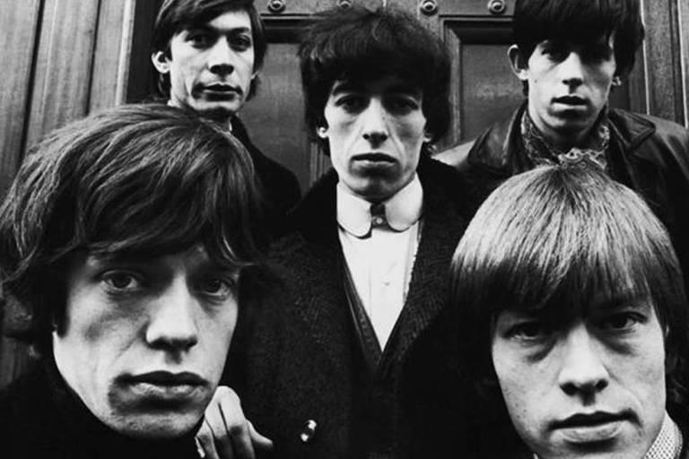 Os Rolling Stones: Mick Jagger, Charlie Watts, Bill Wyman, Keith Richards e Brian Jones