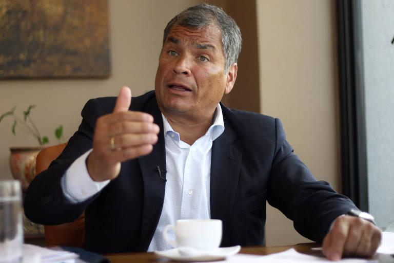 Presidente Rafael Correa em entrevista em Quito, no Equador