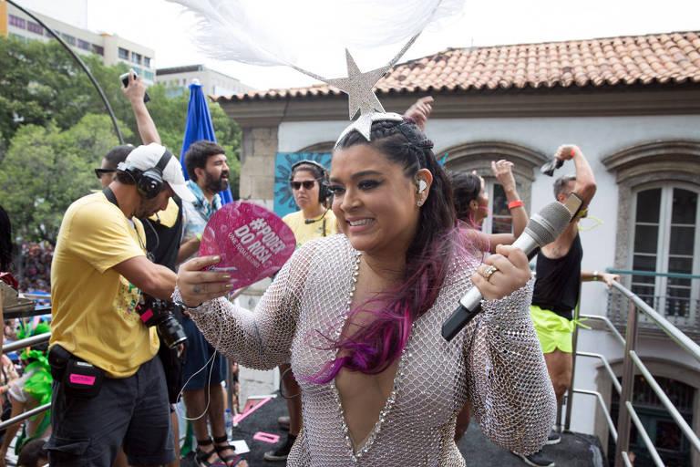 Cantora carioca Preta Gil em seu Bloco no Rio