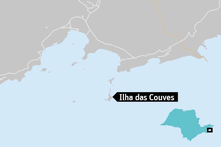 Localização da Ilha das Couves, em Ubatuba-SP